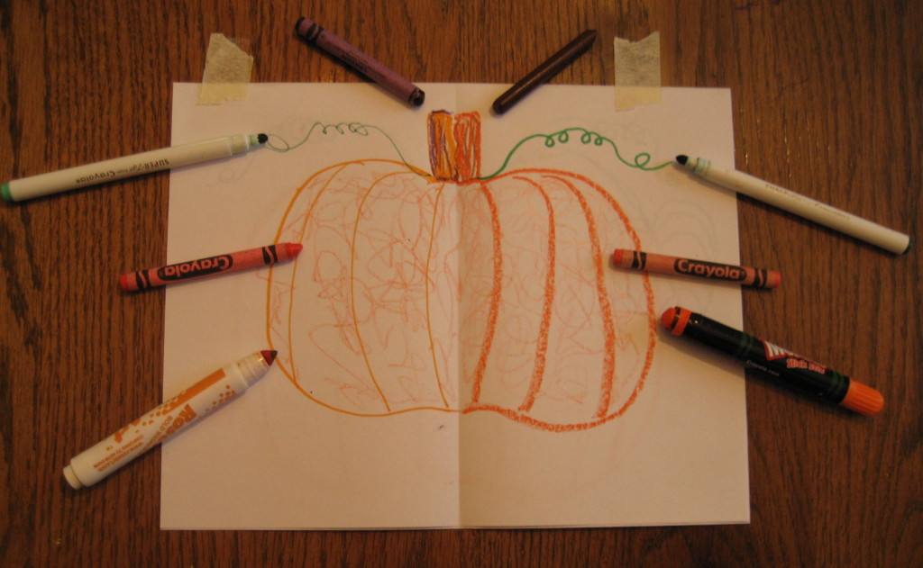 Use two hands at the same time to draw a Halloween pumpkin!