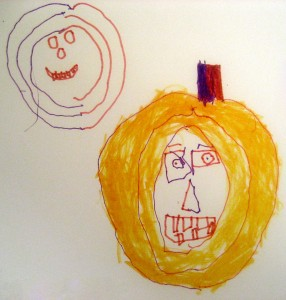 Here are two Halloween Pumpkin faces drawn within minutes of one another by a 6-year old. You can see the fine-motor skill he's developing as he experiments.