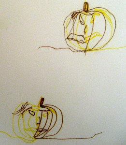 A Double Doodle pumpkin and his pumpkin head friend (drawn by an 8-year old)—ooh . . . which face is the scariest?