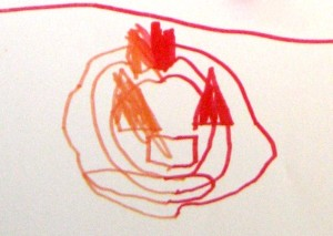 A 6-year old finds a more simple way to suggest the pumpkin's ribs.
