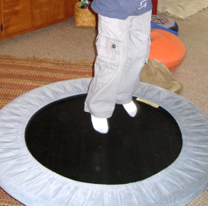 A trampoline makes a fun jumping spot.