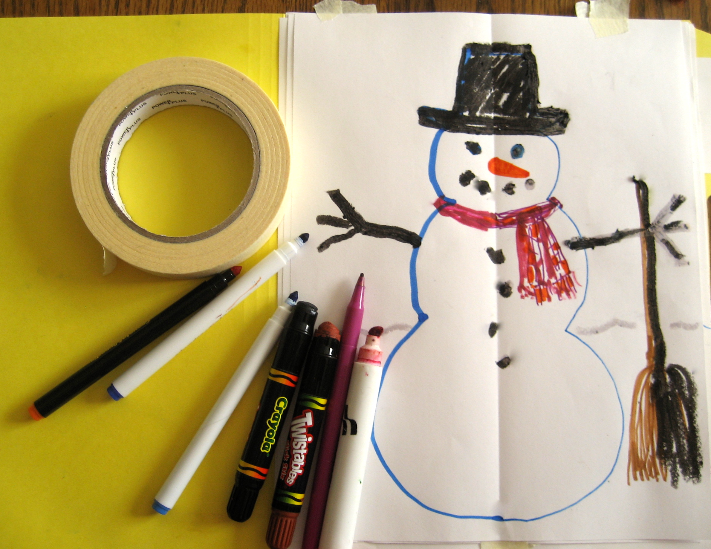 Out and down, out and down; in, around, around, around, to build a Double Doodle snowman!