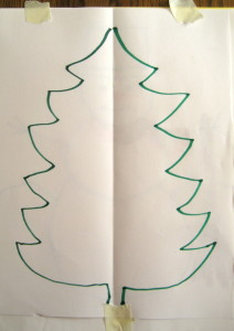 "For a Double Doodle Christmas tree shape, move hands ""down and out, then down and in, now do it again, and again, and again!"""
