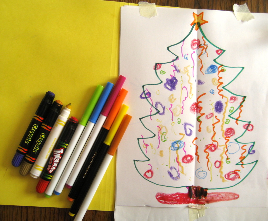 Decorate your Double Doodle Christmas tree. Still using two hands, place some of your ornaments asymmetrically if you like.