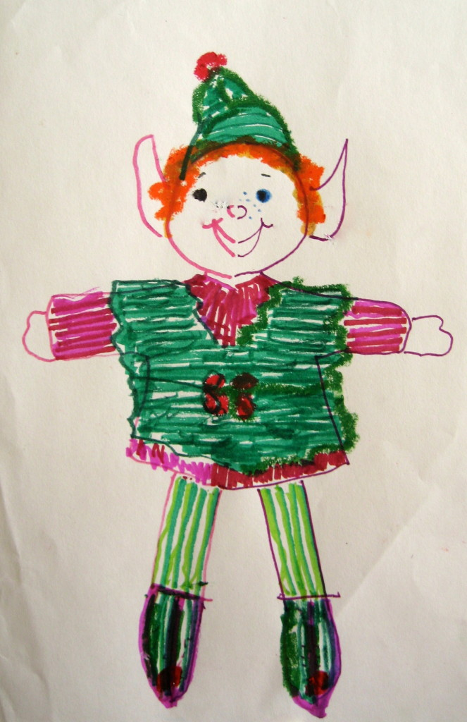 A Double Doodle Christmas Elf that could be used on a card or as a window decoration.