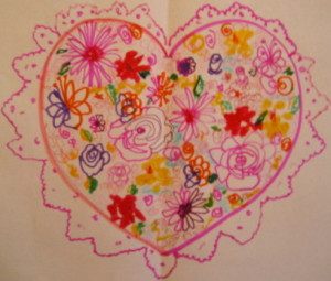 A Flower-Filled Double Doodle Heart