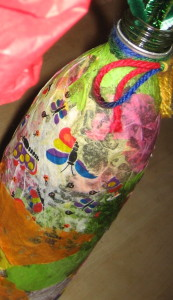 H.'s vase, covered with tissue paper (some of the paper was patterned, as you see here).