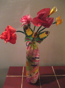 Our finished project: a vase of colorful flowers and butterfly!
