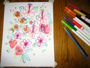 I used a variety of thick and thin colored markers, as well as two colored pencils.