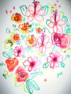 Playful flowers, leaves, and curlicues drawn with two hands at once make a colorful design.