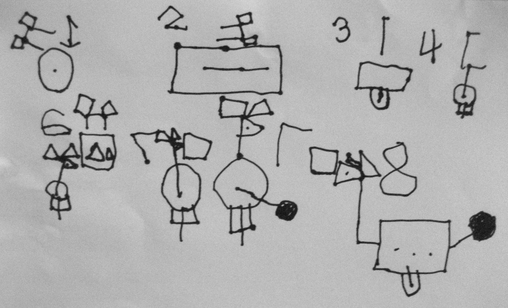 My grandson's schematic for the Robot Dog.