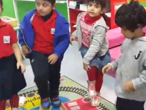 These 4-year-olds are beginning to integrate the rhythmic and reciprocal arm and leg motion involved in this complex motor skill.