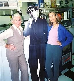 "Mother and me with ""Bogie"" at the soda shop in Garden City, Kansas, a place she remembered from her teen years."