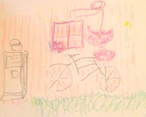 """""""Bicycle,"""" by Rhydonia Anderson, captures the whimsy and expressiveness of two-handed doodling."""