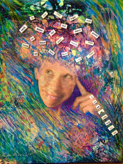 """Self-Portrait of EM with Words,"" a 16 x 20 multimedia portrait, made from a photo transfer, acrylic paint, and watercolor pastels using the batik wax resist method to create the neuropathway networks. I enjoyed collaging the word tiles to describe what I enjoy my brain for!"