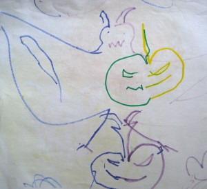 This free-flowing design of bat with pumpkins was drawn by a 10-year old.