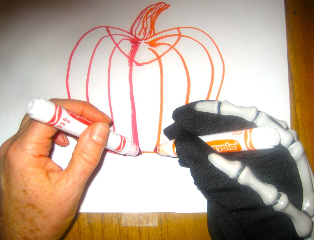 A Halloween Double Doodle (just like any Double Doodle) is down using two hands together.