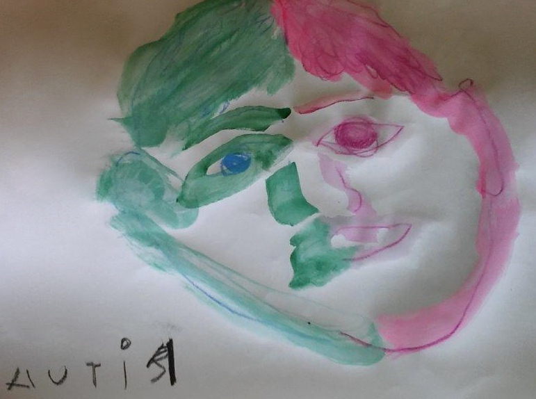 In July, with Liisa's assistance, Ritva paints her first portrait' one full of expression.