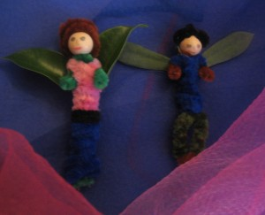 Smaller fairies with (at left) ficus-leaf wings; (at right), succulent-leaves.
