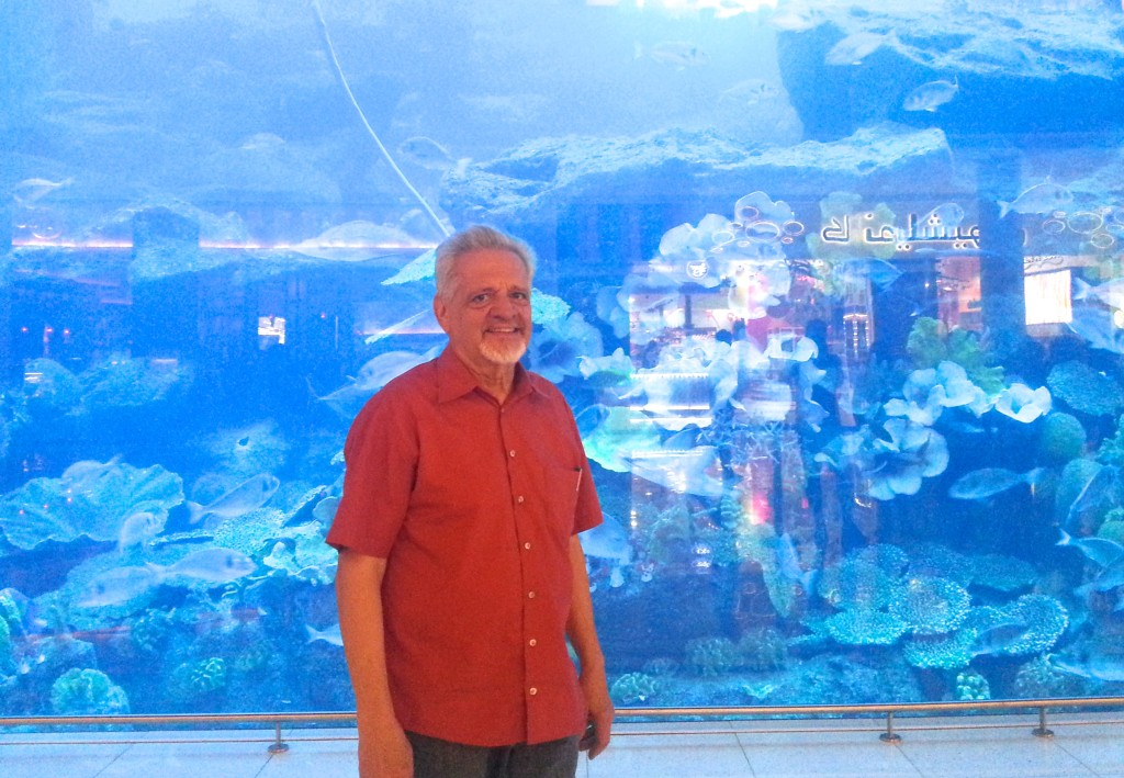 Behind me, a small glimpse of the Dubai Mall Aquarium, one of the largest tanks in the world.