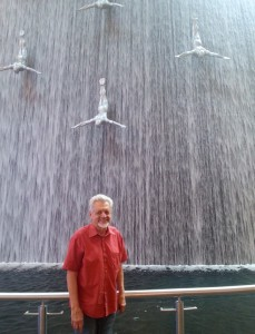 At the Dubai Mall—like something I'd never seen before—a sculpture of divers as part of a waterfall.