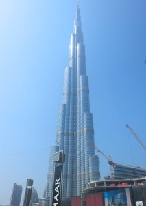 My photo of the tallest building in Dubai—the Burj Khalifa, which rises an imposing 2,717 feet to hold 209 floors.