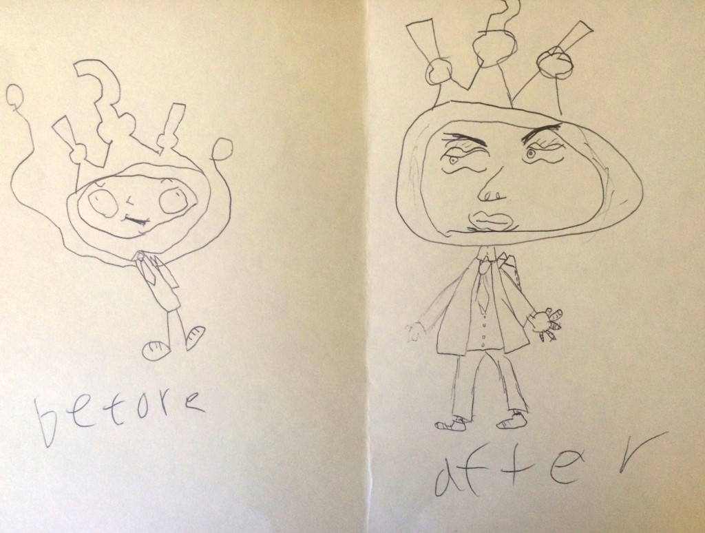 His drawings before (left) and immediately after (right) doing some Lazy 8s.
